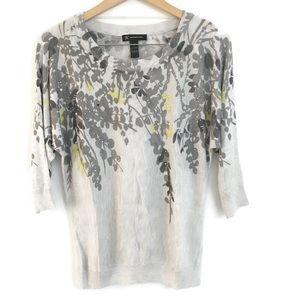 INC Embellished Floral 3/4 sleeve Shirt F0039